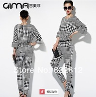 New spring 2014 women's clothing Europe style vogue small incense big plover two-piece leisure suit women clothing sets