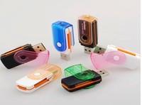 Free Shipping ,50pcs/lot , Rotating multi-card reader USB 2.0 Card Reader Multi Card Reader  SD/MS/TF/M2 SDHC