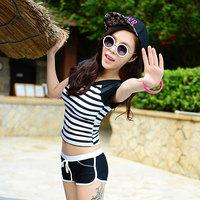 Free Shipping 2014 swimwear sunscreen fresh stripe split boxer swimwear spa short-sleeve swimming equipment