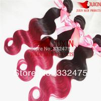 Free Shipping 100g/pc 12inch~26inch Human Virgin Hair Peruvian Body Wave Red Ombre Hair Bundles