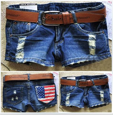 Hot sales 2014 summer New arrival women's fasion denim shorts America flag denim shorts Size S M L XL Free shipping(China (Mainland))