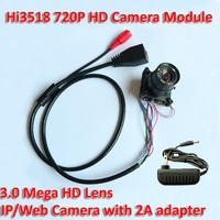 "720P HD Mega Resolution IP Camera Hi3518 DSP 1/4"" CMOS CCTV security Camera  Module onvif camera+2A adapter upgrade necessarily"