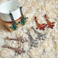 [Clear inventory] only 3 paris in stock Fashion brand earrings petal stone drop earrings for women rhinestone flower earrings