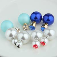 New Double faced pearl rhinestone stud earring female vintage fashion personality earrings Rhinestoneearrings mini neon colors