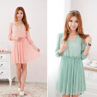 free shipping Sweet gentlewomen  half sleeve medium-long princess dress elastic waist pleated chiffon one-piece dress