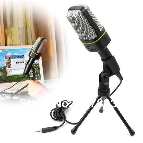 Skype MSN Singing Recording 3.5mm Condenser Microphone Mic For PC Laptop(China (Mainland))