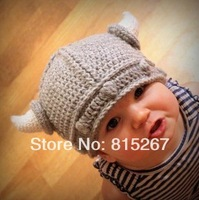 20Pcs Newborn Baby Cute Handmade Crochet Lael Viking Hat Children Knit Hat Photography props Kids Xmas Party Ox horn Wool Cap