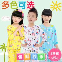 Skirt Dress Child cotton silk sleep set summer air conditioning child lounge 100% cotton silk baby summer sleepwear