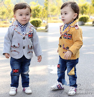 Free Shipping Kids Toddler Boys Cute Plaid Top Pockets Coat Badge Jeans Pants Three-piece Suit