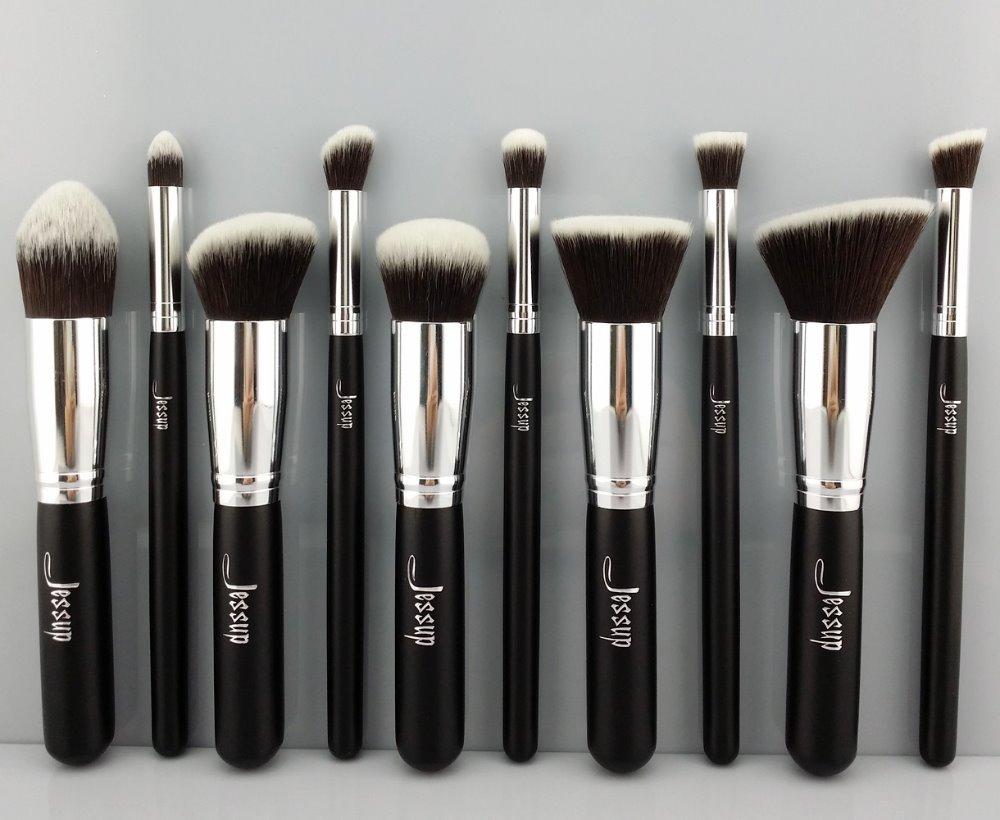 Nouveau professional 10 pcs noir/fondation. blush liquide argenté pinceau kabuki pinceau de maquillage ensemble d'outils