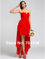 2014 New Style Real Sample Celebrity A-line Strapless Asymmetrical Front Short Back Long Chiffon Red Junior Bridesmaid Dress