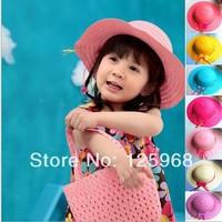 Free Shipping! 2014 New 10pcs/lot Colorful fashion Girl's/kids sun hats,bowknot Straw beach hat Children's Cap