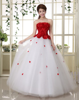 Hot Sell Red Appliques Strapless Bandage Back Long Dress Bridesmaid Plus size Ball Gown Party Dresses