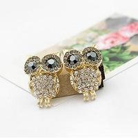 2014 New fashion jewelry owl shape ear stud Earrings with Rhinestone for women girls