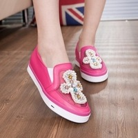 2014 spring and summer diamond rhinestone elevator women's flat casual shoes low-top shoes breathable lace gauze single shoes