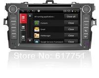 8''HD Touchscreen Android Car DVD GPS Navigator for Car Toyota Corolla Radio,iPod,Free Wifi Dongle+shipping+Free map