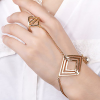 2014 New fashion jewelry Punk alloy quadrilateral Bracelet & bangles connect finger ring