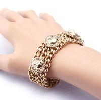 2014 New fashion jewelry retro gold Lion's head Bracelet & Bangles for women's dress
