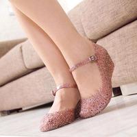Bling crystal platform sandals women's wedges shoes hole shoes jelly shoes bird nest rain boots water shoes dance shoes nurse