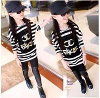 Spring  New 2014 kid T-shirt  Children t Shirt kid Girl Cotton Bat Full-sleeve Black And White t shirt Size 120-160