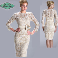 Fast Shipping Hot Selling Elegant Long Sleeve Sheath Lace Knee Length Mother Of The Bride Dresses Prom Dress New Fashion 2014