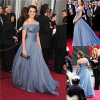 Off Shoulder A Line Blue Penelope Cruz Celebrity Dresses Red Carpet Dresses Oscar Festival Dresses New Fashion 2014