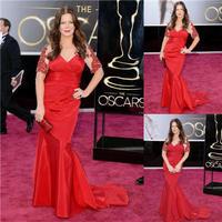 85th Oscar Gay Harden Red V Neck Short Sleeve Beaded Taffeta Mermaid Red Carpet Celebrity Dresses New Fashion 2014