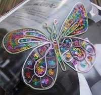 Embroidered Lace Trim Cord Lace F4-2 Fabric Applique Patch Stickers Large Handmade Paillette Butterfly Cravat Car Pelvis Line