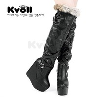 Kvoll fashion rabbit fur patchwork over-the-knee 25pt metal leather buckle on platform wedges boots gaotong