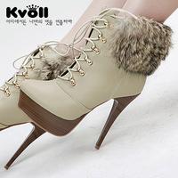 Kvoll cross straps rabbit fur boots wool boots female boots