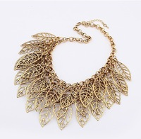 Factory Outlet Korean Exaggerated Retro Leaf  Gold Necklace Collar New 2014 Jewelry Gift For Women S20
