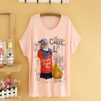 2014 summer ladies modal t-shirt loose batwing shirt plus size clothing multicolour t-shirt