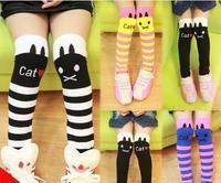 Retail Autumn Children's Socks For Girls Cat Heap Heap Baby Kids Socks School Stripe Mid-calf Length Cotton Sock Girls