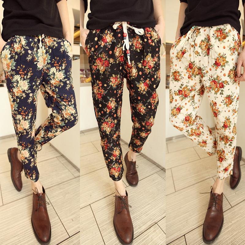 Flower Printed Pants Printed Men Linen Pants