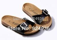 New 2015 Women Shoes Cork Women Slippers.Birkenstock Lovers Summer Beach Shoes One-button Summer Sandals Women  Shoes Plus Size