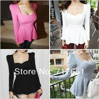 Fashion Women's Puff Peplum Tops Low-cut Flouncing T-shirt Blouse Top 4Color