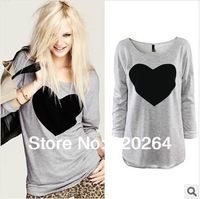 Hot Selling 2014 New Tops Leisure Loose Heart T Shirt Women's Printed woman tee type T-shirts Long Sleeve Free Shipping Plus Siz