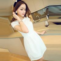 New 2014 brand fashion summer dress white solid casual plus size  elegant pure color plaid slim women dress 48/dsd/10/8130