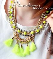 New 2014 Shooting Fluorescent Color Imitation Diamond Tassel Necklaces Chokers