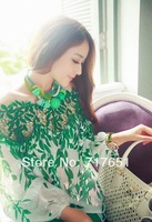 Green Fashion Off shoulder Hollow Leaves Printing Long Sleeve Chiffon Blouse Top