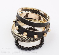 The most popular with ms bangle!Exaggerated retro rivet punk multilayer bracelets & bangles free shipping Women jewelry