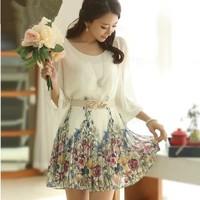 New 2014 new arrival summer dress plus size print  chiffon beach solid fashion brand o-neck casual women dress 46/dsd/10/8132