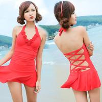 2014 Sexy Swimwear Plus Size Push Up Small Steel One Piece Skirt  Flower Swimwear New Arrival Free Shipping XYZ1358