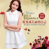 New 2014 plus size summer dress brand fashion wedding puff sleeveless white casual short evening party women dress /dsd/10/8128