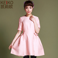 Party Dresses Special Offer Real Natural Chiffon Mid-calf O-neck Women Dress 2014 Spring Fashion Classic One-piece Dress Female