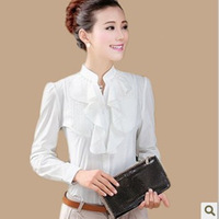 2014 summer slim shirt white ruffle beading stand collar long-sleeve chiffon shirt female