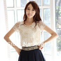 TP2230-Free Shipping Blouses & Shirts Fashion Elegant Beading Lace Embroidered Formal Tops And Blouses Flowers Female Plus size