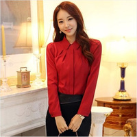 2014 spring fashion slim 100% cotton shirt female women's long-sleeve shirt work wear basic shirt