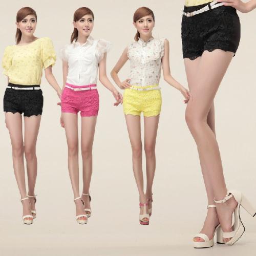 Novo 2014 Hot Spring S a XL completa Cotton Sexy Lace malha Crochet 3 Cores Moda feminina Mini Shorts Calças quentes de verão Calças(China (Mainland))