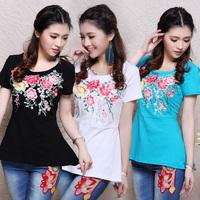 National  trend 2014 spring embroidered patchwork short-sleeve